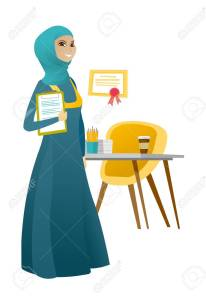 Business woman holding clipboard with documents.